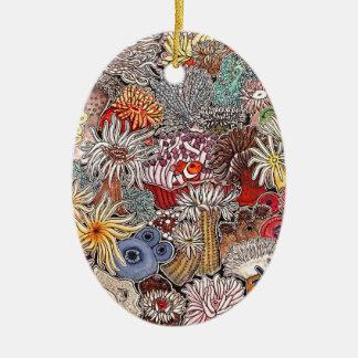 Fish clown and anemones ceramic ornament