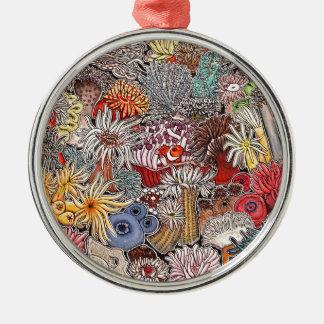 Fish clown and anemones metal ornament