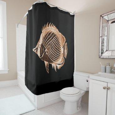 Beach Themed Fish coastal nautical ocean sea black shower curtain