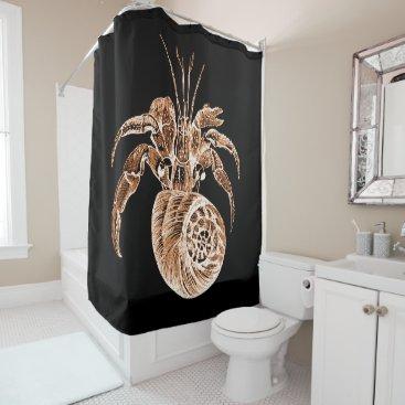Beach Themed Fish coastal nautical watercolor black shower curtain