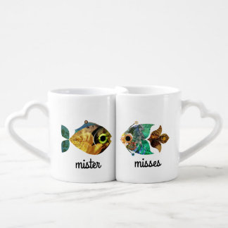 Fish Collage Fun Newly Weds Mister & Misses Mugs