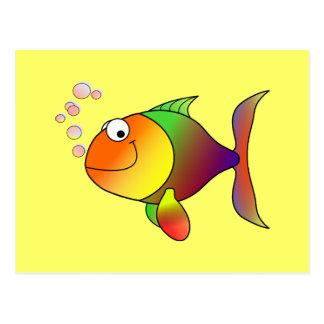 Fish Colorful cartoon fish Postcard