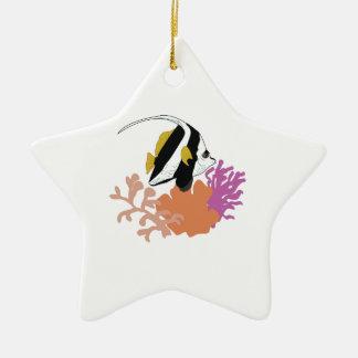 Fish & Coral Ceramic Star Ornament