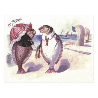 Fish Couple Beach Sea Ocean Postcard