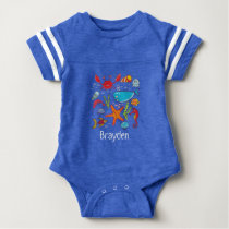 Fish Crab Whale Sea Life Ocean Personalized Baby Baby Bodysuit