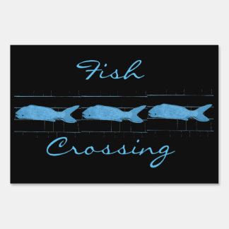 Fish crossing Thunder_Cove black Lawn Sign