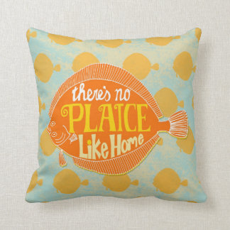 """Fish Cushion: """"No Plaice Like Home"""" Throw Pillows"""
