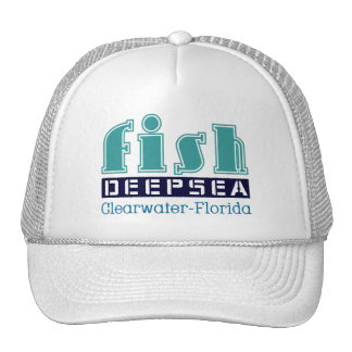fish, deep, sea, to clearwater, flowery trucker hat