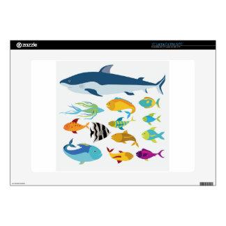 """fish design 15"""" laptop decals"""
