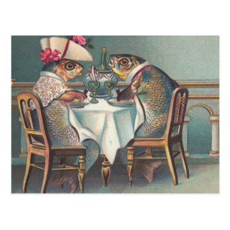 Fish Dinner Vintage Illustration Postcard