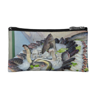 Fish displayed on Ice in Grocery store Makeup Bag
