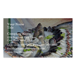 Fish displayed on Ice in Grocery store Business Card Template