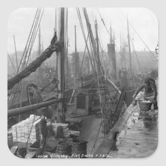 Fish docks, Grimsby, early 20th century Square Sticker