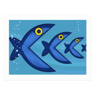 Fish eat fish postcard