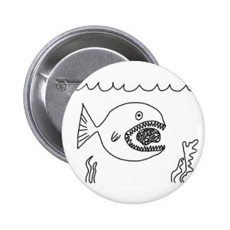 Fish Eats Brain Pinback Buttons