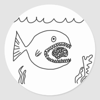 Fish Eats Brain Classic Round Sticker