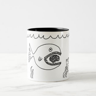 Fish Eats Brain Two-Tone Coffee Mug