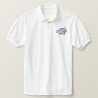 Fish Embroidered Polo Shirt