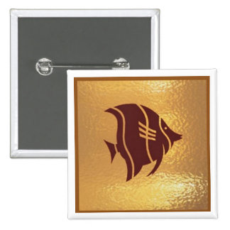 Fish Exotic Aquatic Life - Medal Icon Gold Base 2 Inch Square Button