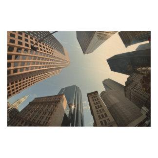 Fish-eye lens of building, Boston, US Wood Wall Art