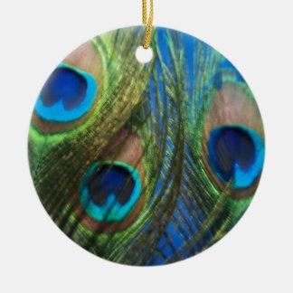 Fish Eye Peacock Still Life Ceramic Ornament
