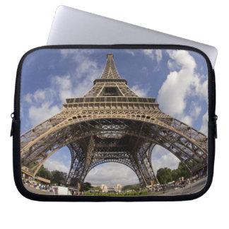 Fish eye shot of Eiffel tower Laptop Sleeve