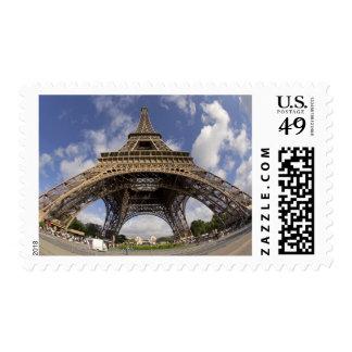 Fish eye shot of Eiffel tower Postage