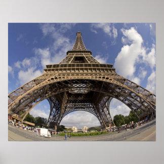 Fish eye shot of Eiffel tower Poster