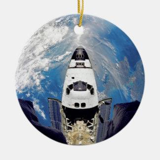 Fish-Eye View of Shuttle Atlantis Ceramic Ornament