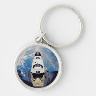 Fish-Eye View of Shuttle Atlantis Silver-Colored Round Keychain