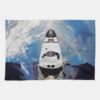 Fish Eye View Space Shuttle Atlantis Earth Orbit Hand Towel