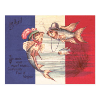 Fish Family French Flag Postcard