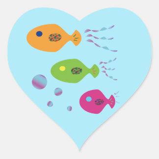 Fish Family Heart Sticker