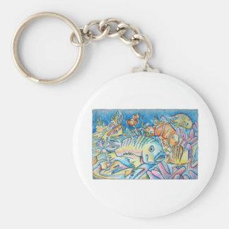 Fish Fantasy Basic Round Button Keychain