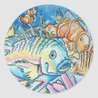 Fish Fantasy Classic Round Sticker
