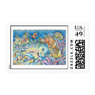 Fish Fantasy Postage Stamps