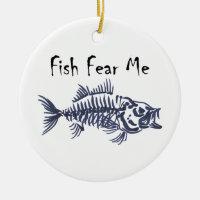Fish Fear Me Ceramic Ornament