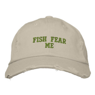 Fish fear me embroidered baseball hat