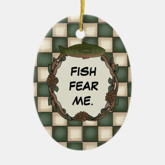 Fish Fear Me Funny Fishing Personalized Photo Ceramic Ornament