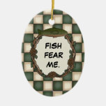Fish Fear Me Funny Fishing Personalized Photo Christmas Ornaments