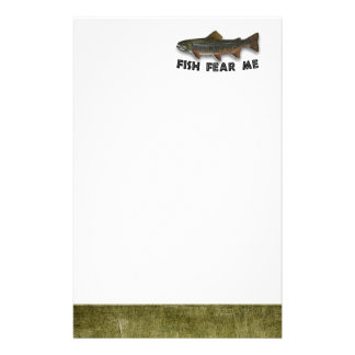 Fish Fear Me Funny Fishing Sports Stationery Paper