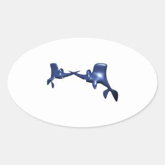 Fish Fight Oval Sticker