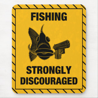 Fish Fighting Back 'Fishing Discouraged' Mouse Pad