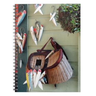 Fish Fishing fisherman basket lures bait hooks Spiral Notebook
