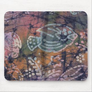 Fish & Floral Tie-Dye Batik Mouse Pad