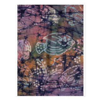 Fish & Floral Tie-Dye Batik Postcard