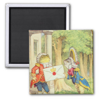 Fish-Footman Delivering an Invitation to a 2 Inch Square Magnet