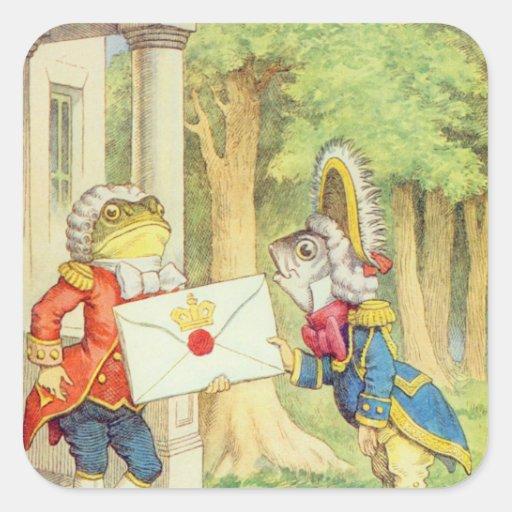 Fish-Footman Delivering an Invitation to a Square Sticker