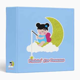 fish for dreams cute lil baby fairy on moon cloud 3 ring binder