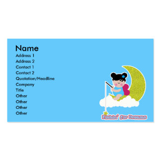 fish for dreams cute lil baby fairy on moon cloud business card